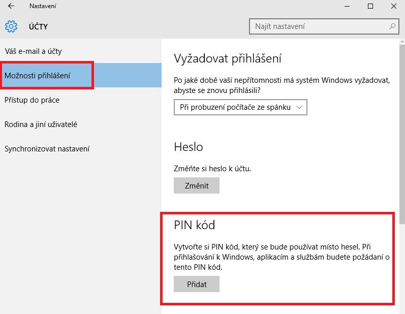 Nastavení kódu PIN ve Windows 10