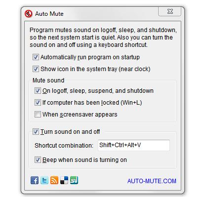 Auto Mute automaticky ztlumí hlasitost při startu počítače