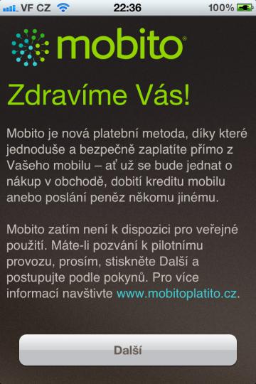 Uvítací stránka aplikace