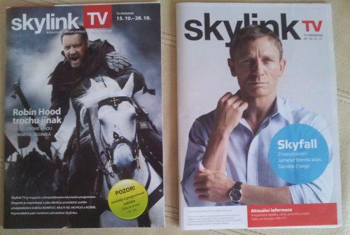 Původní a nová podoba (vpravo) Skylink TV magazínu.