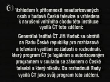 Statický titulek nahrazující vysílání České televize od 27. prosince 2000 v 19.15