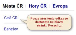 Obrázek ukazuje jak se dostat zpět na domovskou stránku pocasi.cz