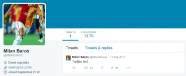 Milan Baroš na Twitteru je už několik let úspěšně mrtvý. Ale má přes 13 tisíc sledujících.