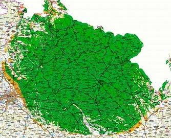 Oblast pokrytá vysílačem Černá hora