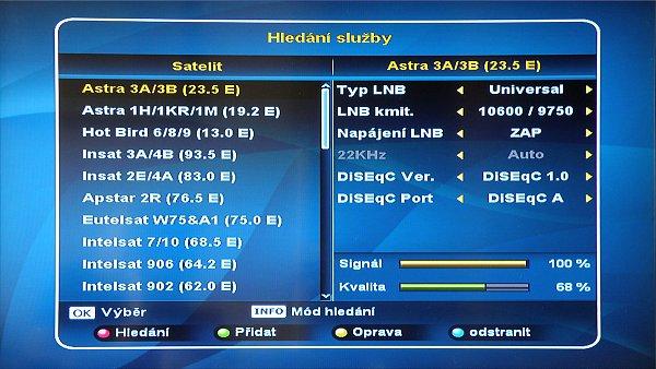 Ze seznamu si vybereme požadovaný satelit s uloženými TP, zvolíme typ našeho LNB a případně nastavíme DiSEqC.