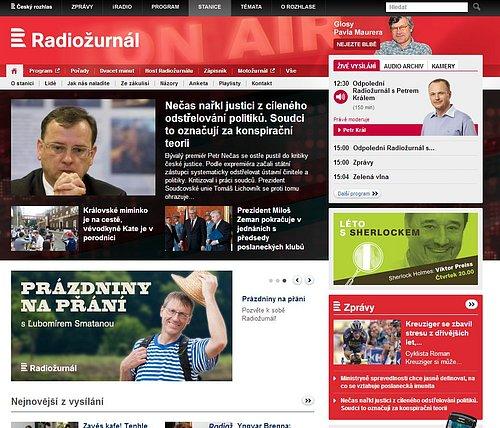 Nová podoba webových stránek ČRo 1 - Radiožurnálu. Tů původní si můžete částečně vygenerovat přes službu Webarchive.