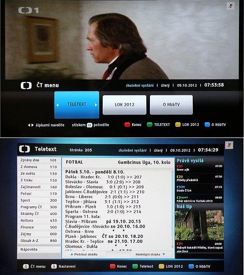 Hybridní aplikace HbbTV je s novým software nově implementována. Funguje skvěle jak na ČT, tak i na německých kanálech, které tuto aplikaci používají. Nahoře je vstup do Menu, dole jedna stránka HbbTV superteletextu.