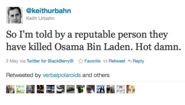 Keith Urbahn: první veřejná zpráva o smrti bin Ladina
