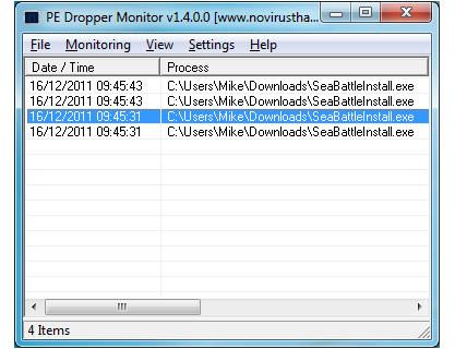 PE Dropper Monitor monitoruje spustitelné soubory