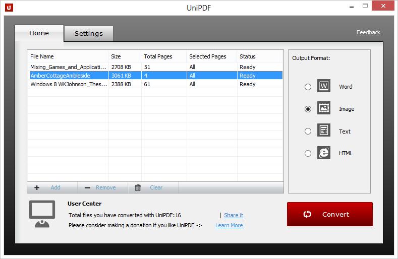 UniPDF převádí PDF