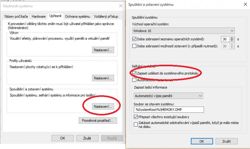 Nastavení spuštění a zotavení Windows