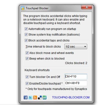Pomocí Touchpad Blocker deaktivujete touchpad Synaptics