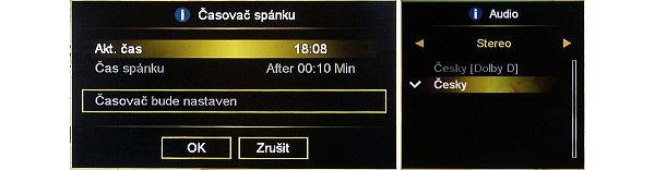V tomto Menu si nastavíte čas pro vypnutí do režimu spánku. Na druhém obrázku je seznam audio stop z kterých můžeme u daného programu volit.