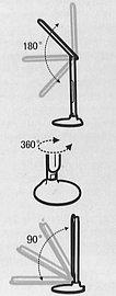 Jak vidíte, stolní lampička je všestranně nastavitelná. Jediné co s ní neuděláte, je osvětlení stropu. Natočit totiž tímto směrem nejde, což je dobře vidět i z připojeného nákresu z obalu.