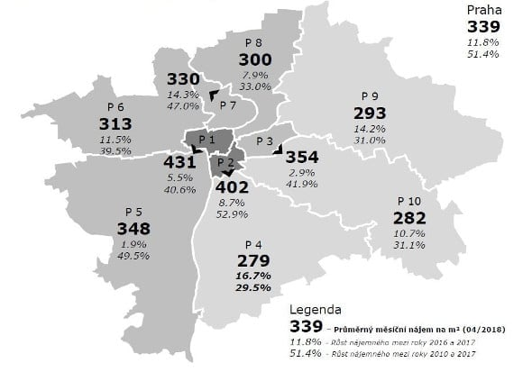 Mapa Najemneho V Krajskych Mestech Loni Zdrazilo O Vice Jak