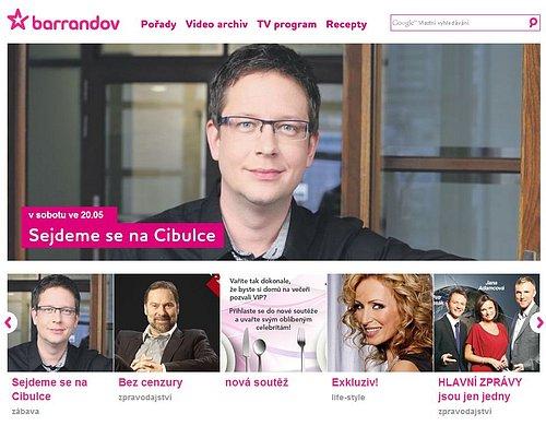 Původní webová prezentace, kterou TV Barrandov používala do začátku června