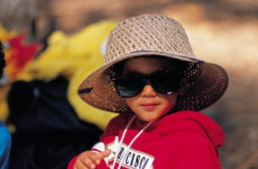 dítě, slunce, sluneční brýle
