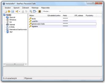 <p>Protředí aplikace KeePass - jednoduché, přehledné. Ryhle se zorientuje i nezkušený uživatel</p>
