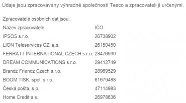 Výčet zpracovatelů údajů držitele Clubcard (k 8.2.2016)