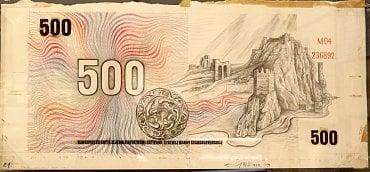 Originální návrh Jaroslava Lukavského na zadní stranu 500 Kč bankovky z roku 1973.