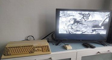 Zkouška - Shadow of the Beast běžící z diskety.