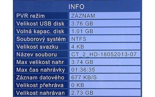 Během nahrávání si můžete zobrazit veškeré informace o jejím průběhu, zde na obrázku při nahrávání na klíčenku 4 GB
