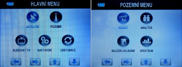 Vlevo je Hlavní menu přijímače. Nahoře na obrázku přepínáme mezi terestrickým a satelitním měřením. V dolní řadě volíme mezi sledováním televize on-line, nastavení základních funkcí a PVR a USB funkce. Vpravo ne obrázku je terestrické menu, které je podobné jako satelitní.