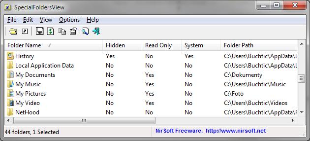 SpecialFoldersView zobrazí všechny systémové složky