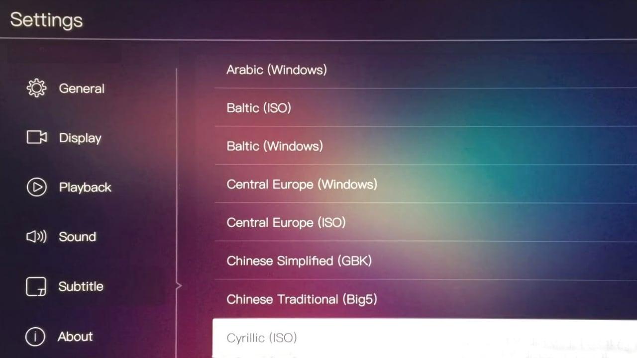 Egreat A10 - Menu nastavení – titulky a OTA/USB update