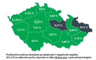 Počet občanů se závazkem po splatnosti dle jednotlivých krajů ČR.