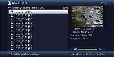 Menu souborového manageru pro obrázky uložené na externím disku.