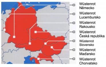 Půsoení skupiny Wüstenrot v Evropě.