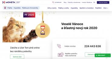 Vánoční přání MONETA Moony Bank v roce 2019.