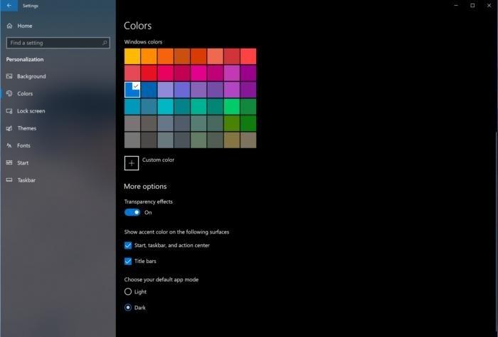 Možnost tmavého motivu najdete v nabídce Nastavení > Barvy (Settings > Colors).