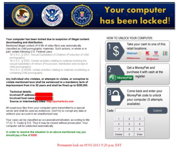 Ransomware Kovter zamkne váš počítač a přitom zobrazí falešnou zprávu která se tváří, že pochází od vládních úřadů