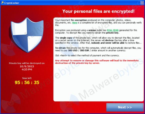 """Cryptolocker šifruje vaše soubory a odmítá vám poskytnout klíč k dešifrování, pokud během relativně krátkého intervalu nezaplatíte """"výpalné"""" -- často v podobě virtuální měny, bitcoinů"""