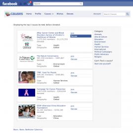 Facebook Causes: vyberte si, na co chcete přispět