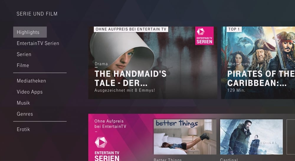 Uživatelské prostředí sekce Serien und Film