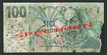 Nestandardně poškozená bankovka: Zetlelá bankovka. Česká národní banka: zadrží bankovku bez náhrady. Úvěrová instituce provádějící pokladní operace a zpracovatel bankovek a mincí: zadrží bankovku bez náhrady a předají ji ČNB. Ostatní subjekty: mohou bankovku odmítnout.