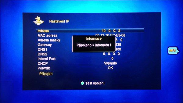 V položce Nastavení IP zobrazíte informaci o připojení k síti. Je zde zobrazena informace o přidělené IP adrese, MAC adrese, masky, brány, DNS1 a DNS 2. Potvrzením tlačítkem OK uložíme nastavení.