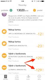 Celková částka za výběr hotovosti se časem v aplikaci změnila. Nová výše částky.