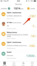 Celková částka za výběr hotovosti se časem v aplikaci změnila. Původní výše částky.