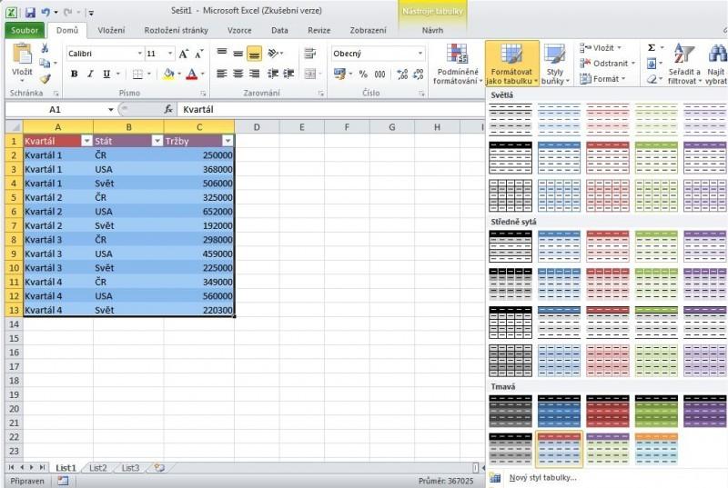 tabulka v Excelu