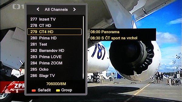 Zde jsou uloženy mimo DVB-T i kanály DVB-T2, které jsou zatím vysílány ve zkušebním provozu (ČT HD, ČT4 HD, Prima HD, Barrandov HD a TEST- také v HD)