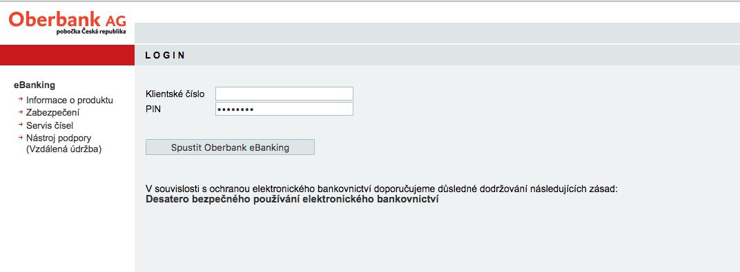Internetové bankovnictví Oberbank