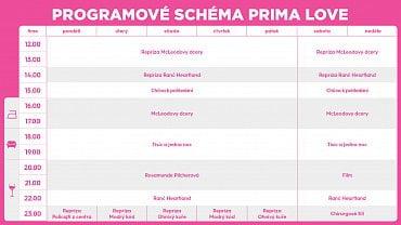 Programové schéma kanálu Prima Love, platné od 2. dubna.