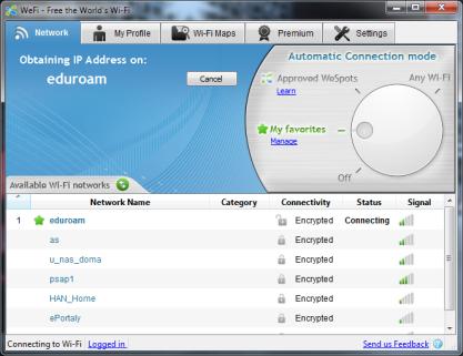 WeFi za vás bude kontrolovat dostupné bezdrátové sítě a automaticky se k nim připojovat