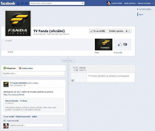 Facebooková stránka Fandy prý Nově nepatří. Stanici představí Nova Group oficiálně na zítřejší tiskové konferenci.