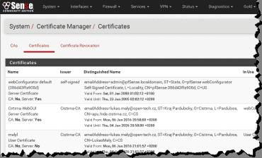 pfSense: Certificates
