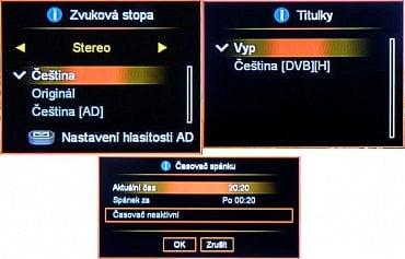 Okna nastavení AUDIO, TITULKY a ČASOVAČ.